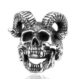 New Men's Stainless Steel Skull Ram Ring European and American Fashion 316L Titanium Steel Rings Jewelry Gift