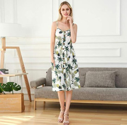 2018 Europe and the United States summer new pineapple printing sling foreign trade hot back dress