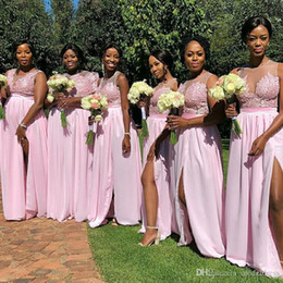 2019 Sexy South Africa Style Bridesmaid Dresses Appliques Side Split Zipper Back Illusion Maid Of Honor Wedding Guest Gown Formal Dresses