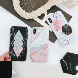 Candy Color Marble Phone Case For iphone X Case For iphone 6S 6 7 8 Plus Funny Geometry Splice Pattern Cases Retro Cover free shipping high