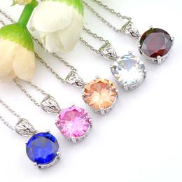 Wholesale 5 Pcs Mix Color Luckyshine Women Round Cubic Zirconia Pendant Jewelry Fashion 925 Silver Chain Bridal Wedding Pendant Necklace