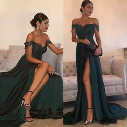 2018 Dark Green Cheap Sexy Prom Dresses Off the Shoulder A Line Floor-Length High Side Split Lace Elegant Long Evening Dress Formal Gowns