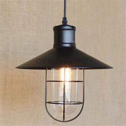 AC100-240V Vintage Iron Pendant Light Industrial Lamps E27 Cage Pendant Lamp Hanging Lights Fixture With Glass Guard Indoor Lighting