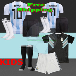 2018 Argentina KIDS Jersey football KITS child baby shirts Home AWAY Messi argentina Dybala Di Maria Icardi Perez Soccer jersey