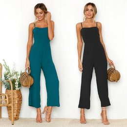 2018 spring and summer sexy sling fashion jumpsuits lady trousers