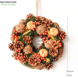 "D9.8"" Pinecones Natural Door Wreath Home Decor Thanksgiving Day Decoration Pumpkin Autumn Wreath Candle Ring Party Decorations Supply"