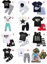 INS Summer Unicorn Fox Kids Clothing Sets Two-piece set Letter print Boys Girls Baby Clothes Short Sleeve Cotton Shirt Pants Shorts 6M-5T