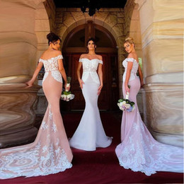 2018 Pretty Lace Mermaid Bridesmaid Dresses Off Shoulder Applique Long Floor Length Wedding Guest Gowns Maid of Honor Dresses BA8963