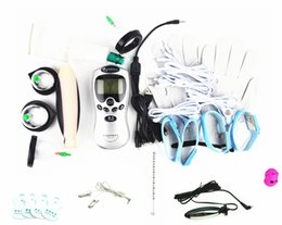 9-in-1 Electric Shock Therapy Kit Bondage BDSM Gear Penis Ring Urethral Plug Nipple Clips Anal Vaginal Dildo Gloves Cock Cupping Sex Toys