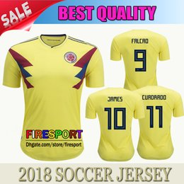 2018 World Cup Colombia soccer Jersey Best Quality 18 19 Colombia home yellow ESCOBAR FALCAO JAMES CUADRADO Football uniform Shirts