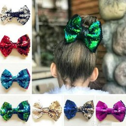 10 color new girl Big Mermaid Barrette Bowknot SHINING SEQUINED bling Double color Reversible Infant bows with Clip bows hair clip boutique