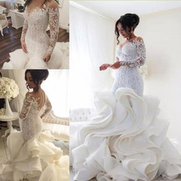 Plus Size 2020 Long Sleeves Lace Mermaid Wedding Dresses Romantic Tiered Ruffles Skirt Wedding Gowns African Bridal Dresses Vestido De Noiva
