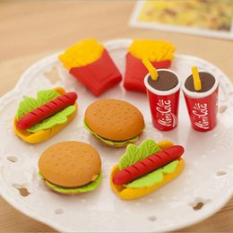 Wholesale! new Cute Kawaii Cake Hamburger Food Drink Coke Eraser Set Stationery School Office Erase Supplies Fruit Kids Gift free shipping