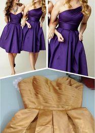 Cheap Simple Dark Purple One Shoulder Sleeveless Short Bridesmaid Dress Satin Corset Knee Length Zipper Elegant Wedding Party Dresses Gown