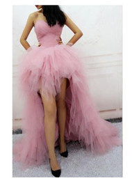 2018 Luxury tulle prom dress sweetheart pink elegant party gowns sexy Hi-Lo elegant formal evening dress for girls