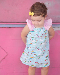 Girls Rainbow Dress INS Baby Clothing 2018 Simmer Flower Pleated Dress Fashion Shoulder-straps Lace Princess Dress HX-917 Unicorn Fly Sleeve