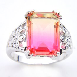 Free shipping --- 5 pcs lot 925 silver BI-COLORED Tourmaline crystal Zircon Square ring for woman Rings hot !hot ! hot !