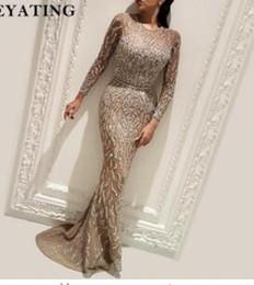 2018 Saudi Arabic Muslim Evening Dress Long Sleeves Prom Dresses Yousef  Dubai Glitter Formal Mermaid Women Party Gowns Kaftan 8d47e5863b6a