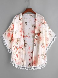 Newest Baby Girl Clothes Peony Printed Tassel Shawl Cardigan Tops Baby Kids Clothes Spring Summer Autumn Outwear Coat Toddler Girls Clothing