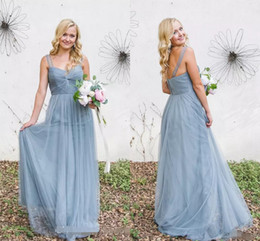 Cheap 2019 A Line Bridesmaid Dresses For Summer Garden Beach Weddings Sheer Straps Backless Pleats Long Maid of Honor Gowns Plus Size