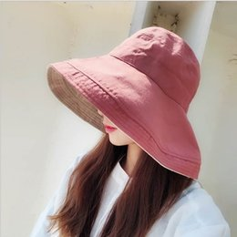 Womens summer both side wear UPF 50 Beach Hat Foldable Wide Brim women Sun Hat Outdoor Fishing Floppy Cap Foldable Wide Cap