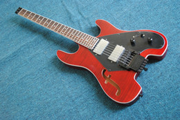 Free Shipping red 4 strings NO Head Electric Bass headless Wholesale guitars