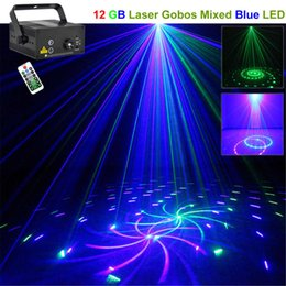 AUCD Mini 12 Big Gobos Mini GB Laser Projector Lights 3W Blue LED Mixing Effect DJ Party Home Garden Holiday Show Lighting L12GB