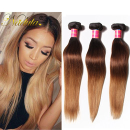 Nadula Brazilian Straight Hair Extensions T1B 4 27 Ombre Virgin Hair 4Bundles 100% Human Hair Weaves Wholesale Cheap Peruvian Malaysian