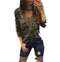 Women Cross V-neck Halter Camouflage Tops Sexy Elegant Ladies Casual Blouse Tees Summer Green Gray T-shirt