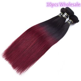 Wholesale 10PCS Peruvian Straight Ombre 1B 99J Hair Extensions Human Hair Weave 10-28inch Top Quality Unprocessed Wavy Hair