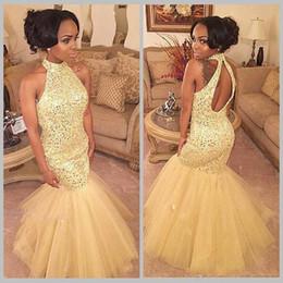 Keyhole Neck Gold Mermaid Prom Dresses 2018 Black Girls Backless Sequins Crystal Tulle Long Formal Evening Gowns 2K18