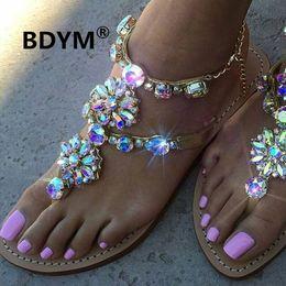 2018 Woman Sandals Women Shoes Rhinestones Chains Thong Gladiator Flat Sandals Crystal Chaussure Plus Size 46 tenis feminino