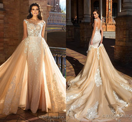 Crystal Design 2018 Bridal Capped Sleeve Jewel Neck Heavily Embroidered Bodice Detachable Skirt Sheath Wedding Dresses Low Back Long Train