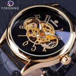 Forsining Creative Skeleton Black Golden Display Men's Openwork Watch Top Brand Luxury Mechanical Wristwatch Transparent Case
