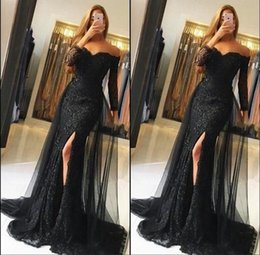 Black Lace Prom Dresses 2018 Off Shoulder Long Sleeves Mermaid Evening Gowns Sexy Side Split Party Dress Custom Made