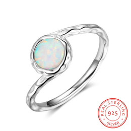 RI103256 high quality stamped s925 sterling silver engagement ring with 6 mm big white synthetic opal ring hammered jewellry wholesale