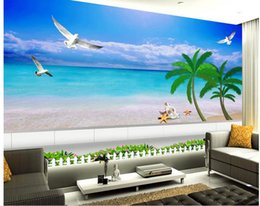 Custom Photo Wallpaper 3D Stereo Original natural scenery sea view stereo living room TV background wall Home Decor Living Room Wall