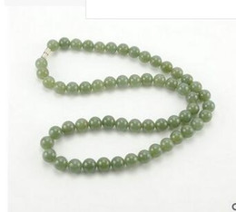 > > free shipping and hot selling jewelry wholesaleNatural Xinjiang Hetian Jade Jade Necklace Oil Jade Round Bead Necklace