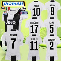Customized 18-19 Thai Quality WOMEN Soccer Jerseys Shirts Custom 9 HUGUAIN 7 Ronaldo Cuadrado 10 DYBALA 3 Chiellini 8 Marchisio WOMEN Soccer