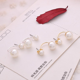 Hot Sales Elegant Fashion Printing Double Side Imitation Pearl Ear Stud Earrings Big And Small Pearl Earrings 88600Z