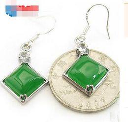 Wholesale Emerald Malay Jade Ear Geometric 925 Silver Inlay Earrings Green Earring Long Earrings