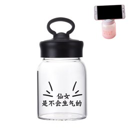 Glass water bottle with handgrip do as mobile phone holder heat ressistant glass bottle protective bag