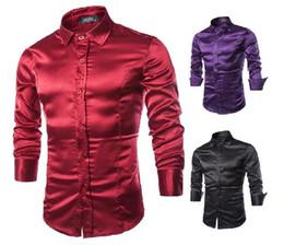 2018 New Dark Red Purple Mens Designer Men Dress Shirts male Tops Summer Style Casual Slim Long Sleeve shirt blouse big size c54