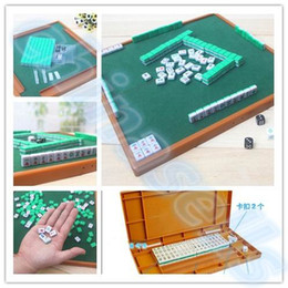 new Small Travel Mahjong set Mini Mahjong portable Mahjiang tiles with table traditional chinese family Board Game