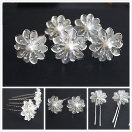 New Arrive 50Pcs Wedding Bridal Crystal White Pearl Flower Hair Pins Hair Accessories