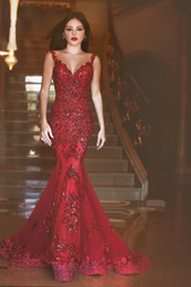 Dark Red Mermaid Prom Dresses Abschlussball Elegant Evening Formal Dress Cocktail Celebrity Party Dress robes de soiree Sheer Ball Gown