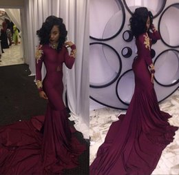2020 Burgundy South African Mermaid Prom Dresses Sexy High-neck Gold Appliques Ruffles Black Girls Party Reception Dress Sweep Train BA3867