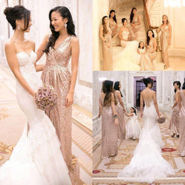 Gold V Neck Sequined Long Bridesmaid Dresses Sleeveless Ruched Formal vestido de festa Party Evening Prom Dress Wedding Guest Gown CPS432