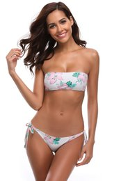 Summer Sexy Women White Flower Rise Bando Bikini Bikini Rose Floral Print Bikini Tie Back Swimsuit