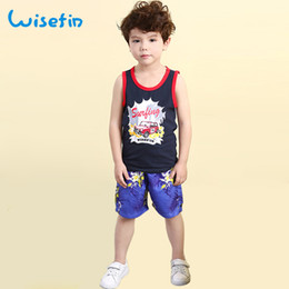 Wisefin Kids Set Summer Sleeveless Boys Clothing Tops Black Vest Shorts Car Print Soft Outfits Pants Hot Sale Suit Vest+Pants